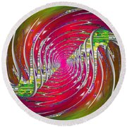 Abstract Cubed 218 Round Beach Towel