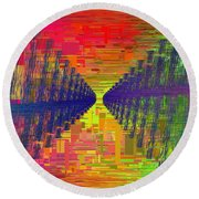 Abstract Cubed 3 Round Beach Towel