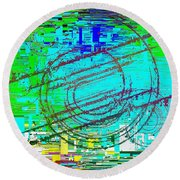Abstract Cubed 41 Round Beach Towel