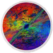 Abstract Cubed 77 Round Beach Towel
