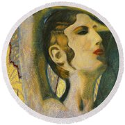 Abstract Cyprus Map And Aphrodite Round Beach Towel