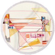 Abstract Drawing Eighteen Round Beach Towel
