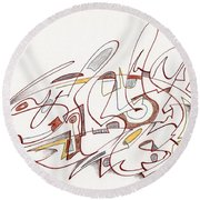 Abstract Drawing Fifteen Round Beach Towel