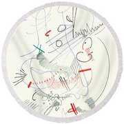 Abstract Drawing Fifty-five Round Beach Towel
