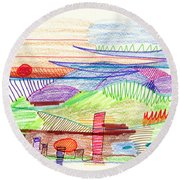 Abstract Drawing Four Round Beach Towel
