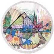 Abstract Drawing One Round Beach Towel