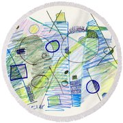 Abstract Drawing Seven Round Beach Towel