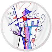Abstract Drawing Sixty-nine Round Beach Towel