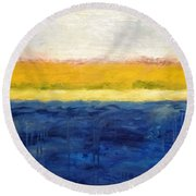 Abstract Dunes With Blue And Gold Round Beach Towel