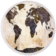 Abstract Earth Map Round Beach Towel