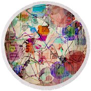 Abstract Expressionism Round Beach Towel