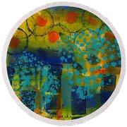 Abstract Expressions - Background Art Round Beach Towel