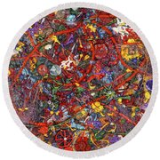 Abstract - Fabric Paint - Sanity Round Beach Towel by Mike Savad