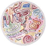 Abstract - Fabric Paint - Urban Society Round Beach Towel by Mike Savad