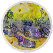 Abstract - Falling Leaves Round Beach Towel