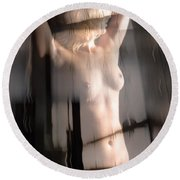 Abstract Female Nude 1 Round Beach Towel