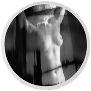 Abstract Female Nude 4 Round Beach Towel