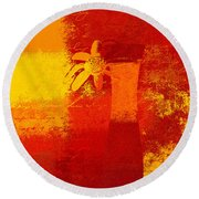 Abstract Floral - 6at01a Round Beach Towel