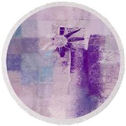 Abstract Floral - A8v4at1a Round Beach Towel by Variance Collections