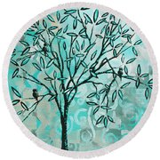 Abstract Floral Birds Landscape Painting Bird Haven II By Megan Duncanson Round Beach Towel
