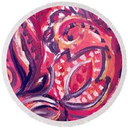 Abstract Floral Design Purple Note Round Beach Towel