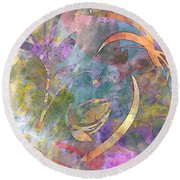 Abstract Floral Designe - Panel 1 Round Beach Towel