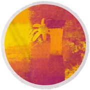 Abstract Floral - M31at1b Round Beach Towel by Variance Collections