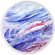 Abstract Floral Marble Waves Round Beach Towel