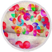 Abstract Floral  Round Beach Towel by Mark Ashkenazi