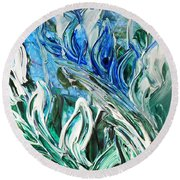 Abstract Floral Sky Reflection Round Beach Towel