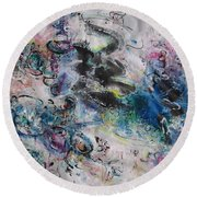 Abstract Flower Field Painting Blue Pink Green Purple Black Landscape Painting Modern Acrylic Pastel Round Beach Towel