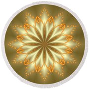 Abstract Flower In Gold And Silver Round Beach Towel