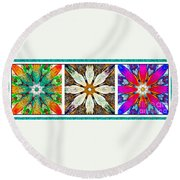 Abstract Flower Triptych Round Beach Towel