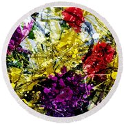 Abstract Flowers Messy Painting Round Beach Towel
