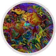 Abstract Fronds In Jewel Tones - Square Round Beach Towel