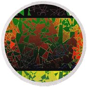 Abstract Fusion 193 Round Beach Towel