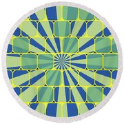 Abstract Geometric Blue Round Beach Towel