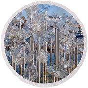 Abstract Glass Art Sculpture Round Beach Towel
