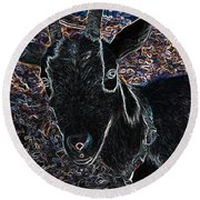 Abstract Goat Round Beach Towel