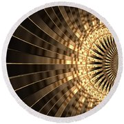 Abstract Gold Series 1 Round Beach Towel