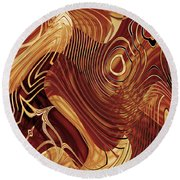 Abstract Gold 3 Round Beach Towel