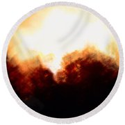 Abstract Golden Landscape Round Beach Towel
