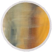 Abstract Golden Yellow Gray Contemporary Trendy Painting Fluid Gold Abstract I By Madart Studios Round Beach Towel