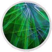 Abstract Green Lights Round Beach Towel