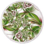 Abstract Green Plant Round Beach Towel