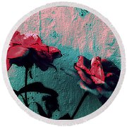Abstract Hdr Roses Round Beach Towel