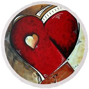 Abstract Heart Original Painting Valentines Day Heart Beat By Madart Round Beach Towel