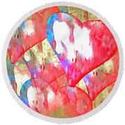 Abstract Hearts 16 Round Beach Towel