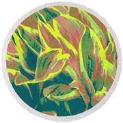 Abstract - Hostatakeover Round Beach Towel
