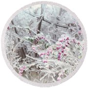 Abstract Ice Covered Shrubs Round Beach Towel